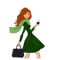 fashionable cute girl in cravat and green dress vector image vector image