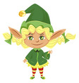 female santa helper or elf girl isolated character vector image
