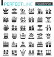 flowerpots classic black concept icons set vector image vector image