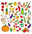 Fresh healthy farm fruits vegetables flat icons vector image vector image