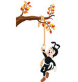 funny black ant climbing a tree with rope cartoon vector image vector image