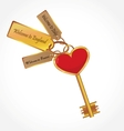 gold key with tags vector image vector image
