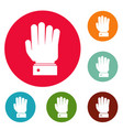 hand stop icons circle set vector image