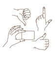 hands gestures hand drawn set logo design vector image vector image