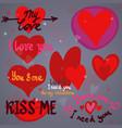 hearts design elements valentine vector image