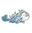ink hand-painted tribal whale vector image vector image