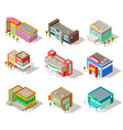 isometric mall store shop and supermarket vector image vector image