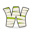 Letter W Mummy Typography icon in bandages vector image vector image