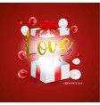 love valentines day concept with gift box and vector image vector image