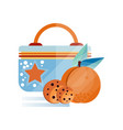lunch bag with chocolate cookie and peach fruit vector image vector image