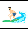 man riding on surfboard vector image vector image
