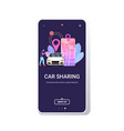 man using mobile app online ordering taxi car vector image