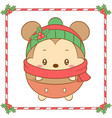 merry christmas cute mouse drawing with red scarf vector image vector image