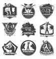 monochrome vintage paintball club labels set vector image vector image