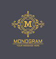 monogram lineart on dark vector image