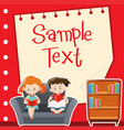 paper design with boy and girl reading vector image