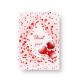 rectangular invitation with scarlet hearts vector image vector image