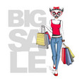 retro hipster animal girl lemur big sale hipster vector image vector image