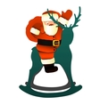Santa Sitting on Toy Rocking Reindeer vector image vector image