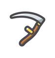 scythe retro agriculture tool icon cartoon vector image