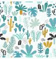 seamless jungle pattern with cactuses branches vector image vector image