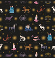 seamless pattern zodiac signs medieval style vector image vector image