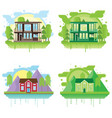 set of landscapes with modern houses family home vector image vector image