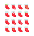 set of red christmas socks christmas stocking vector image vector image