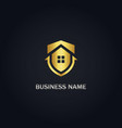 shield save house gold logo vector image vector image