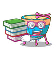 student with book cartoon timpani isolated on the vector image vector image