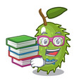 student with book fresh soursop fruit isolated on vector image vector image