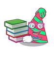 student with book party hat mascot cartoon vector image