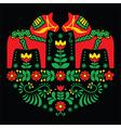 Swedish Dala or Daleclarian horse floral folk art vector image vector image