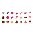 sweet confectionery snack food candy icons vector image