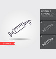 syringe line icon with editable stroke vector image vector image