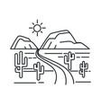 texas landscape outline sketch desert road or vector image vector image