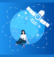 woman using smarphone globe and satellite set vector image vector image