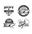 Retro airplane aircraft labels set vector image