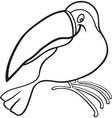 cartoon illustration of funny toucan for coloring vector image