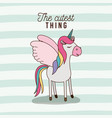 cutest thing poster of unicorn with wings and vector image