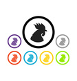 Set of colorful round icons of cocks vector image