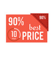 90 best price red label on vector image