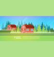 farm house barn building field farmland vector image