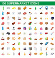 100 supermarket set cartoon style vector image vector image