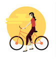 active young man riding on bicycle vector image vector image