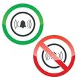 Alarm permission signs vector image vector image