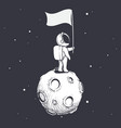 astronaut holds a flag on moon vector image vector image