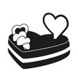 black and white heart cake vector image vector image