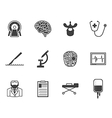 Black icons for neurosurgery vector image