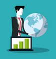 business people and statistics vector image